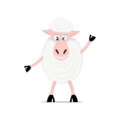 Cartoon sheep cute pose and emotion.