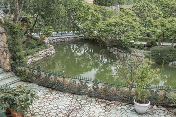 Beautiful pond and footbridges.