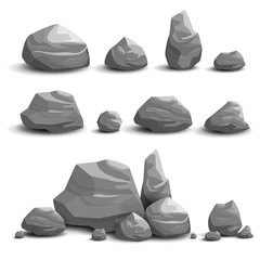 Vector Illustration of Cartoon Game Art Rocks and Stones