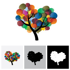 Colorful tree chat vector icons & speech bubble symbols