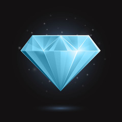 Vector Illustration of a Blue Diamond or Gemstone on a Black Background