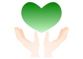 手とハート イラスト 緑