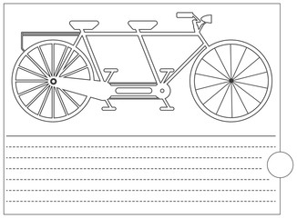 Coloring book with old bicycle and place for text