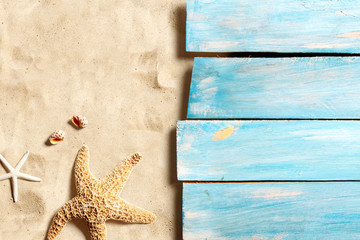 Marine life on blue wooden boards on the sand beach