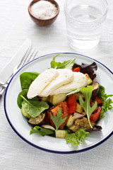 Warm salad with grilled vegetables and cheese