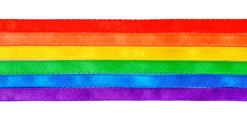 concept gay culture symbol with rainbow ribbons flag, sign LGBT