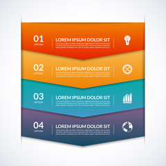 Infographic template with 4 arrows, options, parts