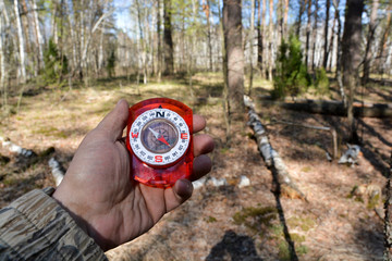 With the compass on a walk.