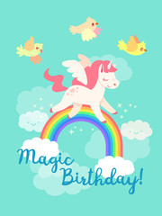Fairytale happy birthday card with flying Unicorn in vector. Yellow birds, rainbow and clouds. Cute pegasus in cartoon style. Magical pony with horn and wings.