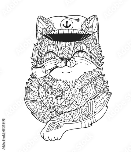 Doodle Cat Captain Smoking Pipe In Vector Hand Drawn Animal Head With Floral Ornament
