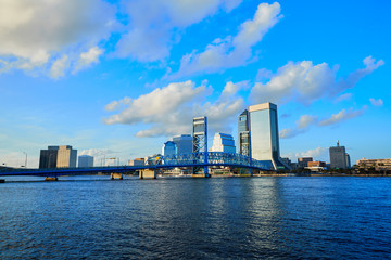 Jacksonville skyline evening in florida USA