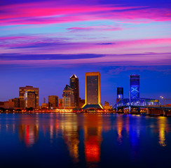 Wall Mural - Jacksonville skyline sunset river in Florida