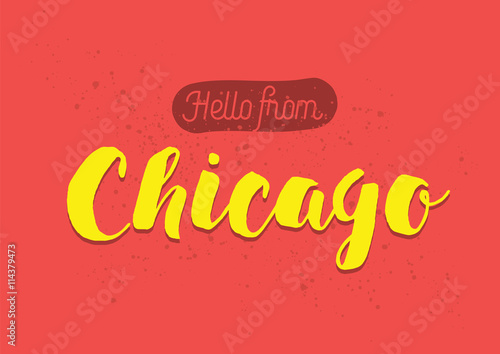 Hello from chicago america greeting card with lettering design hello from chicago america greeting card with lettering design m4hsunfo