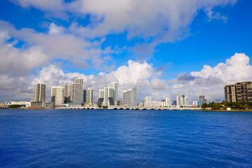 Miami downtown sunny skyline in Florida USA