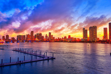 Wall Mural - Miami downtown skyline sunset Florida US