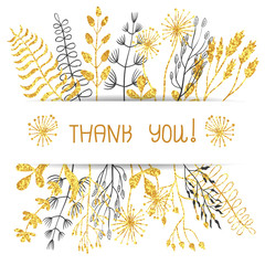 Thank you floral card design. Sparkling golden flowers and branches isolated on white. Suitable for birthday card, wedding invitation. Vector illustration.