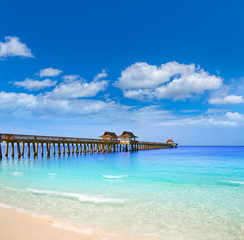 Fototapete - Naples Pier and beach in florida USA