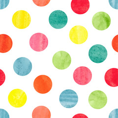 Watercolor colorful polka dot seamless pattern. Vector illustration of colorful  dots isolated on white. Circles background.