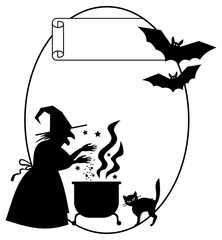 Oval silhouette frame a witch preparing potion in the magic cauldron. Vector clip art.