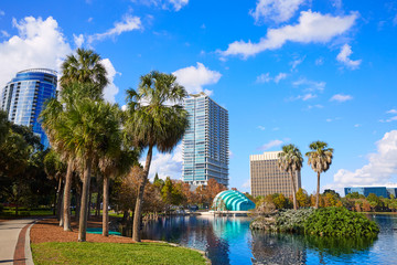 Wall Mural - Orlando skyline fom lake Eola Florida US