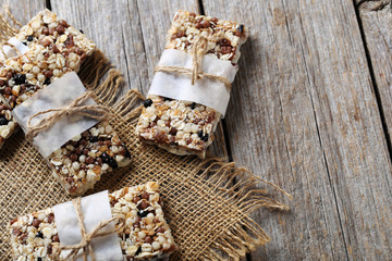 Granola bar on a grey wooden table