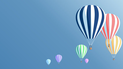 Multicolored hot air balloons in the blue sky, vector illustration