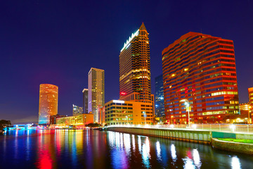 Wall Mural - Florida Tampa skyline at sunset in US