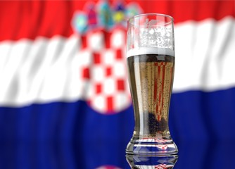 a glass of beer in front a Croatia flag. 3D illustration rendering.