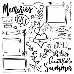 Set of cute and girly jand drawn vector doodle stickers.