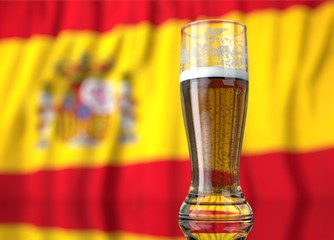 a glass of beer in front a spanish flag. 3D illustration rendering.