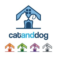 Home Pet Logo, Dog And Cat Design Illustration