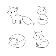 Set of cute little fox.