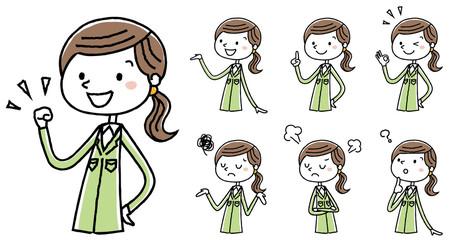 作業服の女性 ポーズ バリエーション