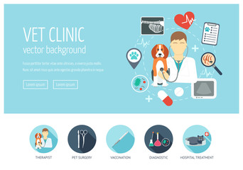 Vet clinic web design concept for website and landing page. Flat design. Vector