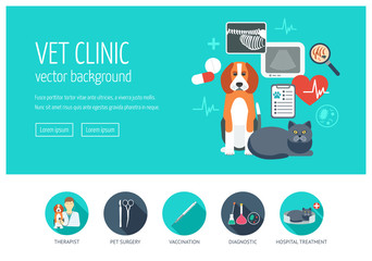 Vet clinic web design concept for website and landing page. Web banner. Flat design. Vector