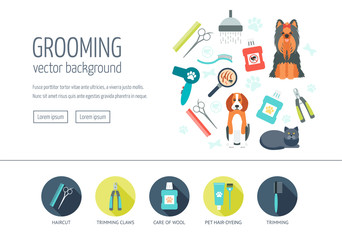 Grooming web design concept for website and landing page. Web banner. Flat design. Vector