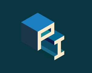 PI isometric 3D letter logo. three-dimensional stock vector alphabet font typography design.