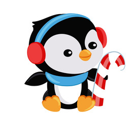 Cute Christmas penguin holds candy.