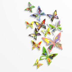 Colorful butterflies in the wave form design.