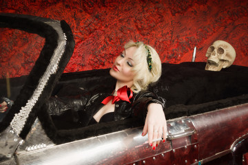 Pin Up Girl in a Classic Car