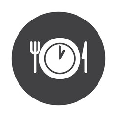 White Lunch Time icon on black button isolated on white