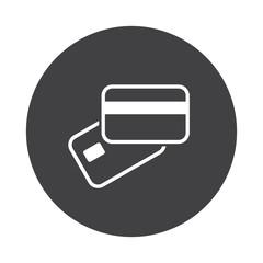White Rss icon on black button isolated on white