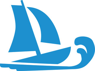Sailing boat with wave icon