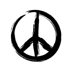 Sign pacifist, peace symbol, drawn by hand with a brush. Black Hippie sign on a white background.