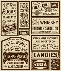 Mega pack old advertisement designs and labels - Vector illustra