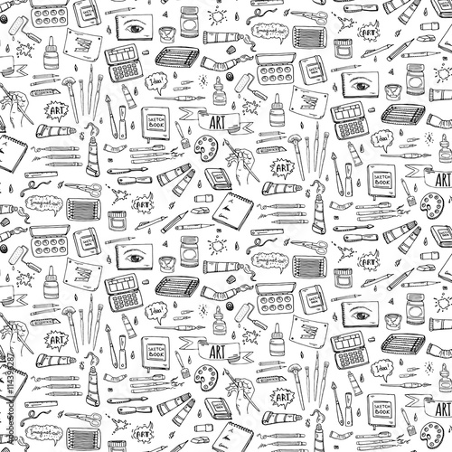 Seamless Background Hand Drawn Doodle Art And Craft Tools Icons Set