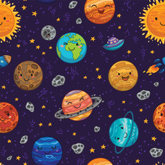 Seamless space pattern background with planets, stars and comets.