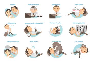 Sleep Problems/Man with sleep problems. Vector illustration