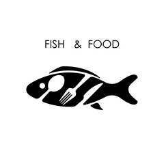 Fish,spoon,fork and knife icon.Fish & food logo design vector
