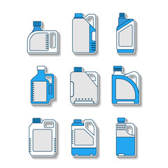 Blank plastic canisters, flat icons. Packaging for oil, water, liquids